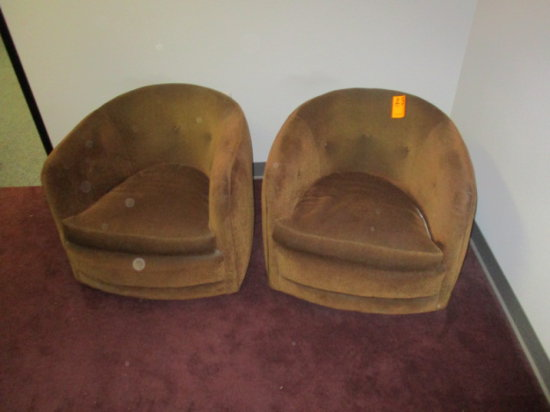 LOT OF 2 BROWN CLOTH PADDED U SHAPED CHAIRS