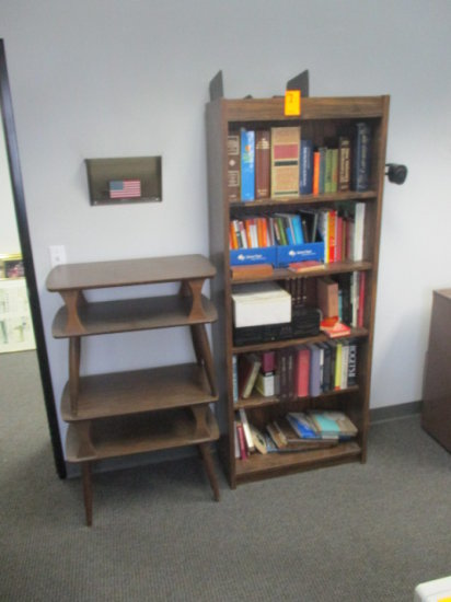 BOOK CASE WITH CONTENTS AND 2 - 2 TIER END TABLES