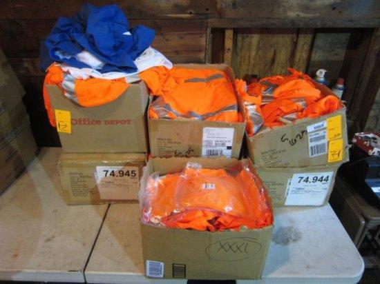 LOT W/(7) BOXES OF SAFETY ORANGE SHIRTS