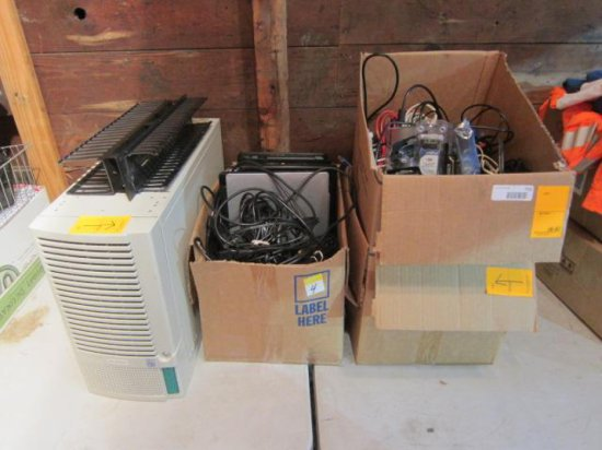 LOT W/(6) LAPTOPS, (1) SERVER, ASSORTED CORDS, & CAT5 WIRE