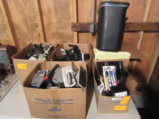 LOT W/(5) BOXES OF MISC OFFICE SUPPLIES