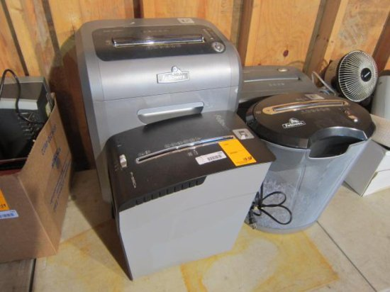 LOT OF (4) ASSORTED PAPER SHREDDERS
