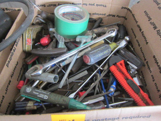 BOX W/ASSORTED ALLEN WRENCHES & OTHER TOOLS