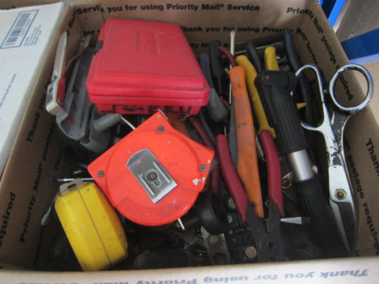 BOX W/PLIERS, CUTTERS, & MISC HAND TOOLS