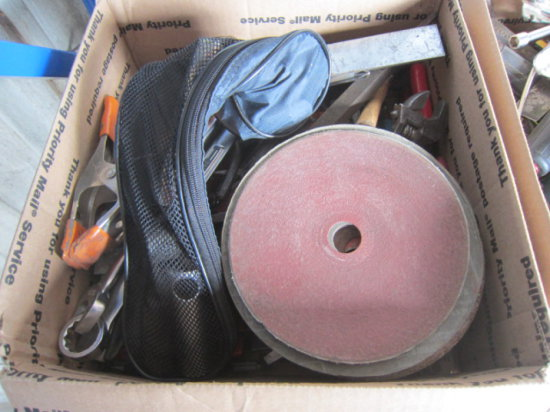BOX W/ASSORTED PLIERS, SMALL SQUARES & WRENCHES