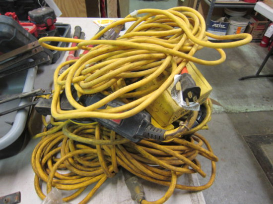 (3) EXTENSION CORDS & (2) MULTI-PLUG ADAPTERS