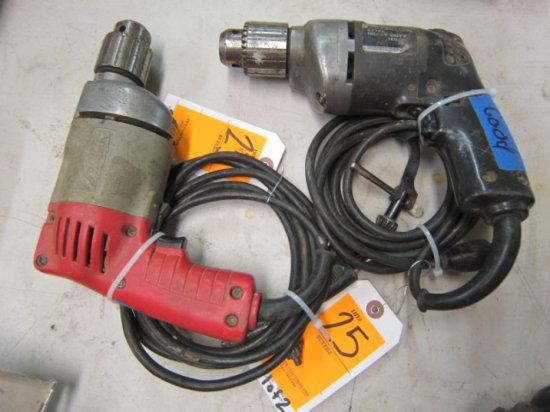 MILWAUKIE 3/8'' ELECTRIC DRILL & BLACK & DECKER 3/8'' ELECTRIC DRILL