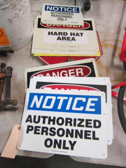 STOP SIGN, (2) AUTHORIZED PERSONNEL ONLY SIGNS, & (4) HARD HAT REQUIRED SIG