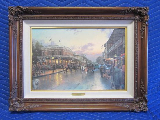 ''OLD SACRAMENTO'' BY THOMAS KINKADE, OFFSET LITHOGRAPH, 14'' X 21'' CANVAS, 21 1/2'' X 28 1/2''