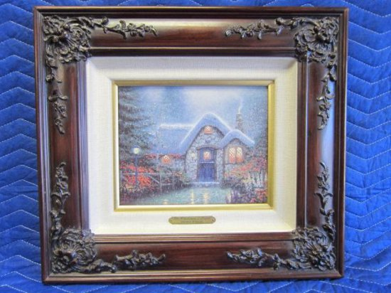 ''THE WOODSMAN'S THATCH'' BY THOMAS KINKADE, LIMITED EDITION OFFSET LITHOGRAPH, 1407/1960 S/N