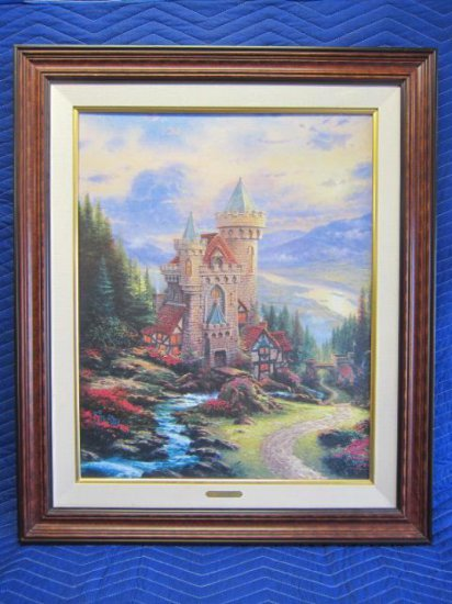 ''GUARDIAN CASTLE'' BY THOMAS KINKADE, LIMITED EDITION OFFSET LITHOGRAPH, 178/4750 S/N CANVAS,