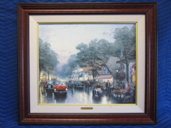''CARMEL, DELORES STREET AND THE TUCK BOX TEA ROOM'' BY THOMAS KINKADE, LIMITED EDITION OFFSET