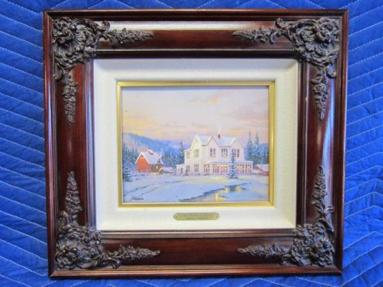 ''THE LIGHTS OF HOME'', BY THOMAS KINKADE, LIMITED EDITION OFFSET LITHOGRAPH, 1082/2500 S/N CANVAS,