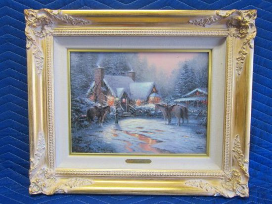 ''A CHRISTMAS WELCOME'' BY THOMAS KINKADE, CHRISTMAS COTTAGE VII, LIMITED EDITION OFFSET LITHOGRAPH,