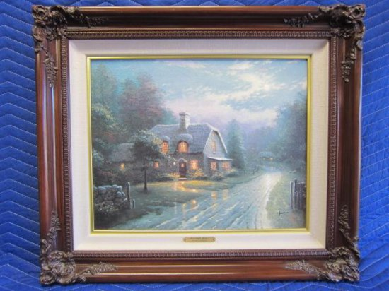 ''MOONLIGHT LANE I'' BY THOMAS KINKADE, LIMITED EDITION OFFSET LITHOGRAPH, 150/2400 S/N CANVAS,