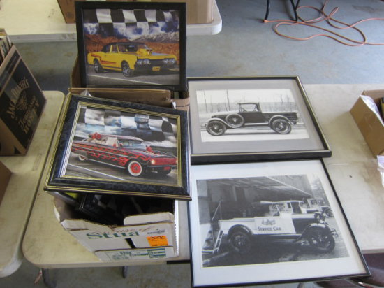 LOT W/(2) BOXES OF FRAMED PICTURES