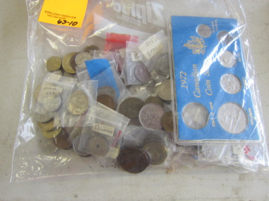 BAG W/ASSORTED FOREIGN COINS