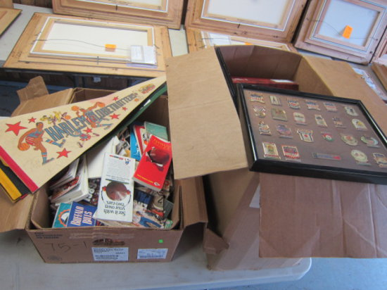 (1) BOX OF MISC SPORTS BOOKS & (1) BOX OF FOOTBALL CARD HOLDERS, OLYMPIC PI