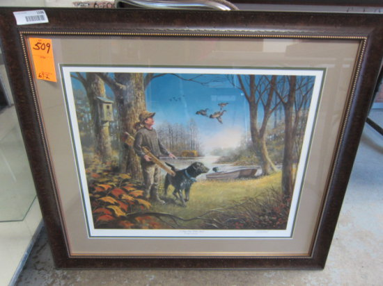 DUCKS UNLIMITED FRAMED PRINT, ''A DAY OUT WITH DAD'' BY RALPH MCDONALD, ART