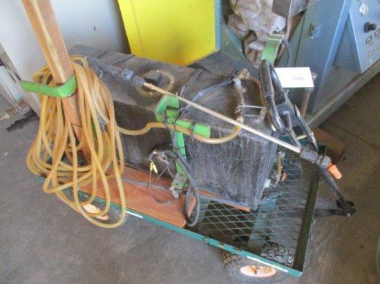 GARDEN CART W/PLASTIC TANK, ELECTRIC PUMP, HOSE & SPRAY GUN