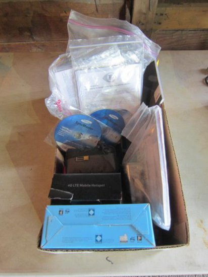 BOX W/JABRA GN9300E HEADSET, (2) CANON CAMERAS, (2) HAND BAGS & CELL PHONE ACCESSORIES