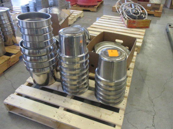 (21) ROUND STAINLESS STEEL INSERT PANS, W/(2) BOXES ROUND ASSORTED STAINLES