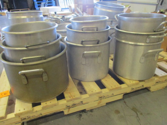(9) LARGE ALUMINUM STOCK POTS