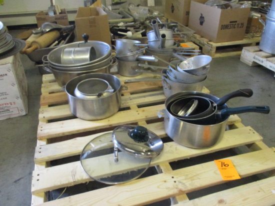 ASSORTED ROUND SAUCE PANS & OVEN ROASTING PANS