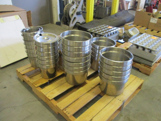 (32) ROUND STAINLESS STEEL INSET PANS, W/(1) BOX ASSORTED ROUND STAINLESS S