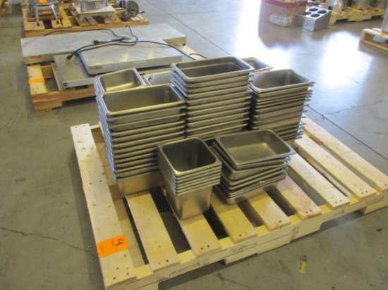 (97) RECTANGULAR STAINLESS STEEL INSERT TRAYS, VARIOUS SIZES
