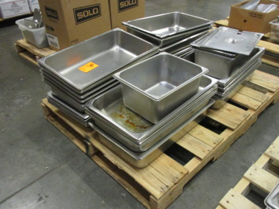 (25) STAINLESS STEEL HOTEL PANS, (4) SS HALF HOTEL PANS, STEAMER PANS