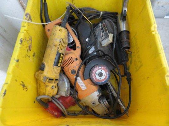 BIN W/VARIOUS ELECTRIC HAND TOOLS, GRINDERS, SANDERS ROUTER & MISC