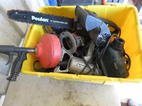 BIN W/VARIOUS ELECTRIC HAND TOOLS, ELECTRIC CHAINSAW, ROUTERS, SANDERS, DRILLS, ETC
