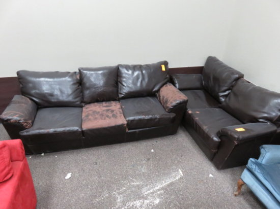 (2) LEATHER COUCHES