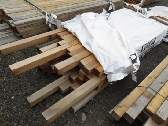 APPROX (47) ASSORTED SIZE 4X4 CEDAR FENCE POSTS