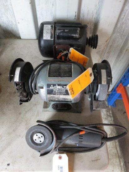 LOT W/DELTA 6'' BENCH GRINDER, SKIL 4 1/2'' DISC ELECTRIC GRINDER & JET 3/4 HP SINGLE PHASE MOTOR