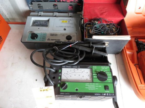 LOT W/(3) INSULATION TESTERS - MEAGER, AMPROBE & METRISO