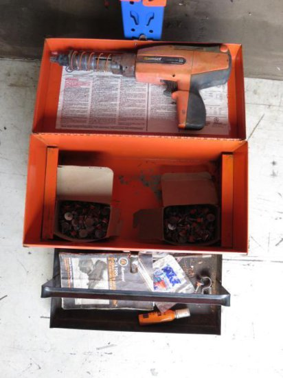 TOOL BOX W/RAMSET D45A FASTENER & (2) BOXES OF FASTENERS