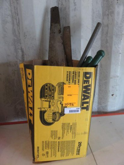 BOX OF HAND SAWS, DRILL BITS, WOOD BITS CABLE CUTTER, PIPE BENDER, & SOCKET HOLDERS