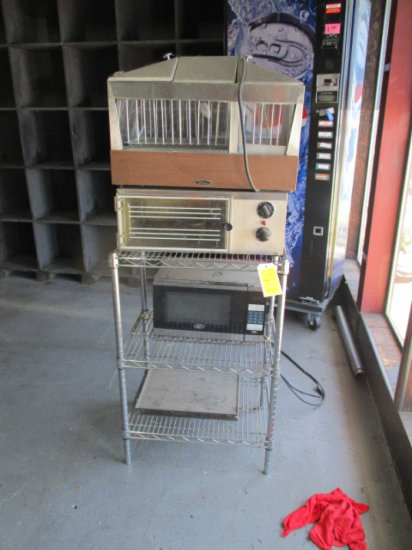 SMALL WIRE RACK W/STAR HOT DOG WARMER, WISCONSON WARMER, & OSTER MICROWAVE
