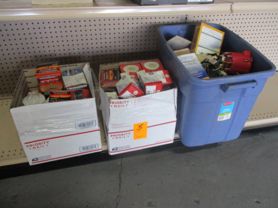 (3) BOXES OF MISC AUTOMOTIVE PARTS, OIL FILTERS, GAS CAPS, & GAS FILTERS