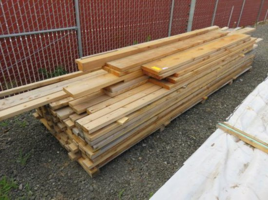 "PALLET W/APPROX. (62) 4"" X 2'' X 12' CEDAR BOARDS & APPROX. (34) 4"" X 2'' X 14' CEDAR BOARDS"