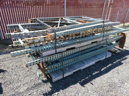 (12) ASSORTED HEIGHT & WIDTH PALLET RACKING UPRIGHTS