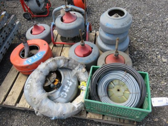 PALLET W/(4) RIDGID K-3800 DRUMS, (4) GARLITZ DRUMS & (3) CABLES