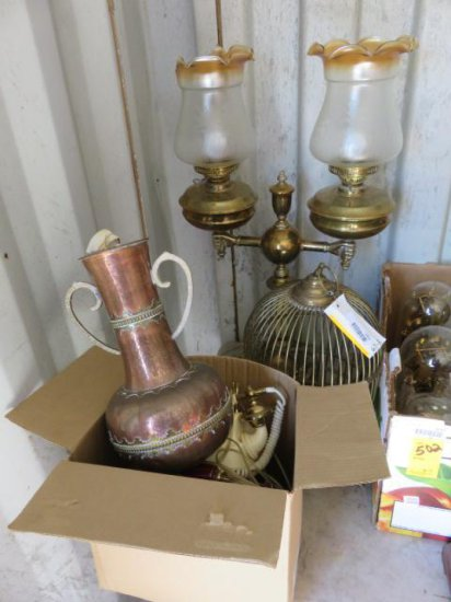 PALLET W/BRASS BIRD CAGE, BRASS LAMP, COPPER VASE, & A BOX OF COFFEE CUPS & (2) ANTIQUE ROTARY PHONE