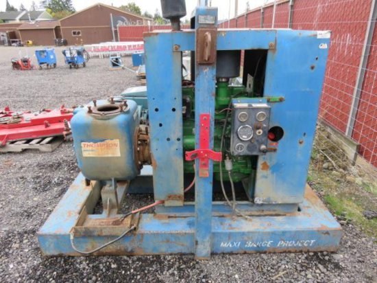 THOMPSON PUMP MANUFACTURING CO. SKID MOUNTED DIESEL WATER PUMP W/JOHN DEERE 1385F 4 CYL DIESEL