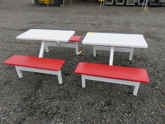 (2) DELI STYLE INDOOR/OUTDOOR PICNIC TABLES W/STEEL FRAME