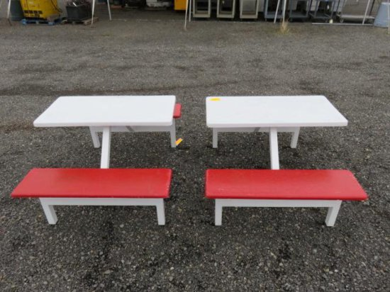(2) DELI STYLE INDOOR/OUTDOOR PICNIC TABLE W/STEEL FRAME