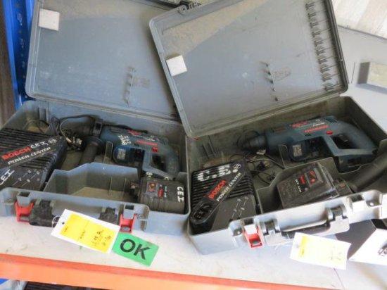 (2) BOSCH THE ANNIHILATOR 11225VSR HAMMER DRILLS, 24 VOLT, W/(2) CHARGERS, & (2) BATTERIES