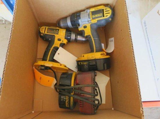 BOX OF (2) 18 VOLT DEWALT HAMMER DRILLS, (2) BATTERIES, AND A CHARGER